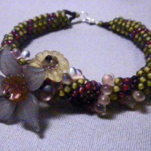 Floral Embellished Dutch Spiral Bracelet