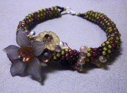 Beadology Iowa Classes Floral Embellished Dutch Spiral Bracelet