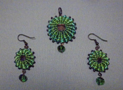 Beadology Iowa Classes Marilyn Moore Basket Beauties Wire Pendant Earrings