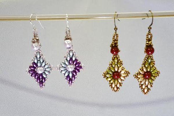 diamond-earrings_superduos-swarovski-pearls_beadology-iowa