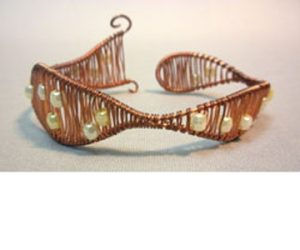 Wire Wrapped Copper and Pearl Bracelet
