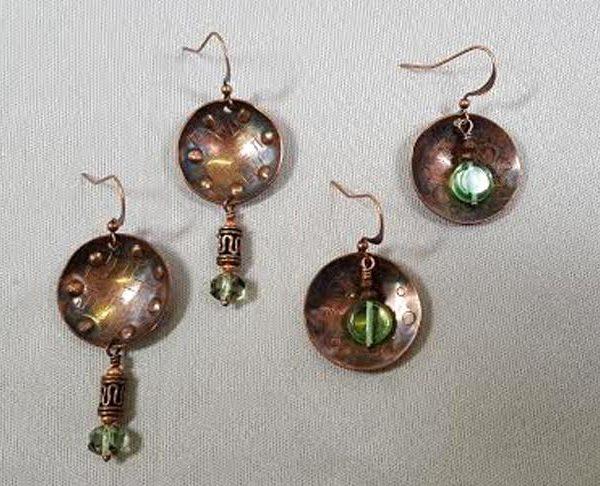 cupped-copper-earrings-metalwork-dapping_Beadology-Iowa