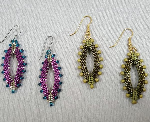 marquise-earrings-peyote_magatama_Beadology-Iowa