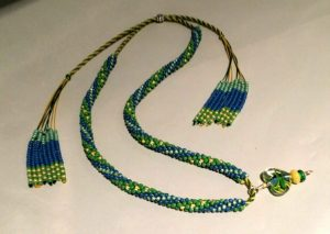 Kumihimo Adjustable Necklace with Tassels and Pendant
