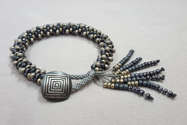 Combed Tassel Kumihimo Bracelet