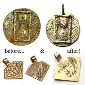 BronzClay-pendant-before-after-firing_Kelly-Kinser_Beadology-Iowa