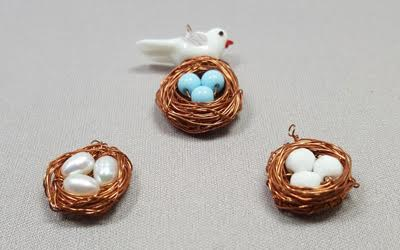 Birds nest pendant great for mothers day beadology iowa birds nestwireworkpendantbeadology iowa aloadofball Choice Image