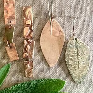 Kelly-Kinser_textured-metal-clay-earrings_Beadology-Iowa