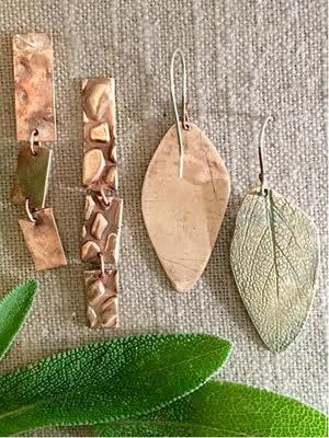 Kelly-Kinser_textured-metal-clay-earrings_Beadology-Iowa