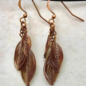 Copper Wire Herringbone Earrings