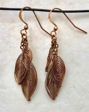 Copper Wire Herringbone Earrings