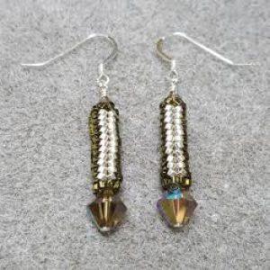Herringbone Beaded Bead Earrings