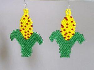 Brick Stitch Corn Earrings
