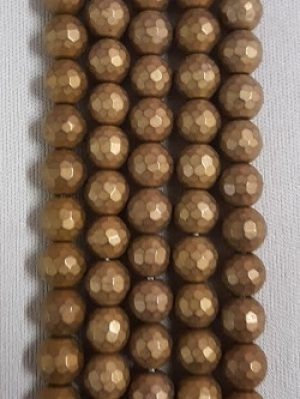 8mm Faceted Round Electroplated Hematite
