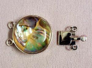 Platinum Abalone & Enamel Box Clasp--2 Strand