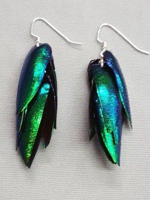 Emerald Beetle Wing Earrings