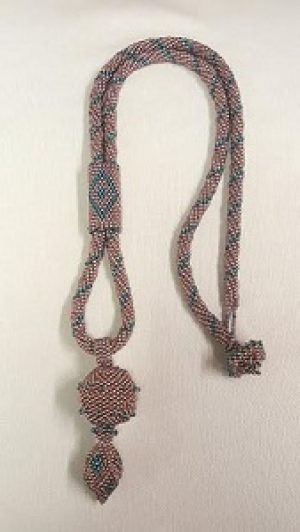 Beaded Necklace with Slide and Bell Filled Pendant