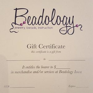 Beadology Iowa Gift Certificate--$10