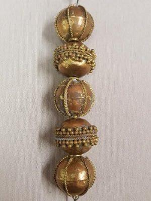 Ornate Brass and Copper Round Bead Strand