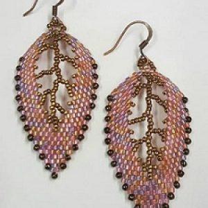 Russian Leaf Earrings--Pink & Bronze