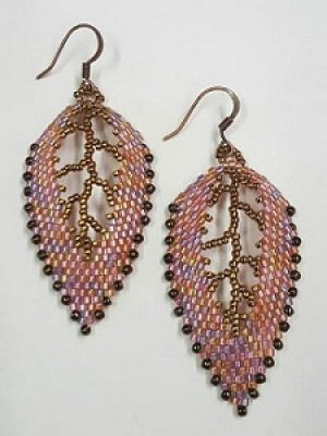 Russian Leaf Earrings--Pink & Bronze