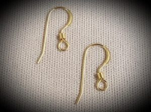 French Flat Ear Wires with Coil GF--20ct.