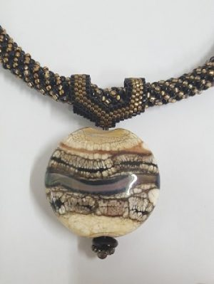 Kumihimo Necklace with Elasia's Lampwork