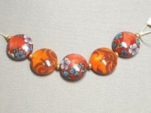 Orange Floral Lentil Lampwork Set