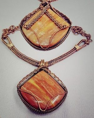 Petrified Wood and Copper Necklace