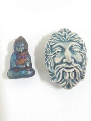 Raku Pendants--Buddha or Green Man