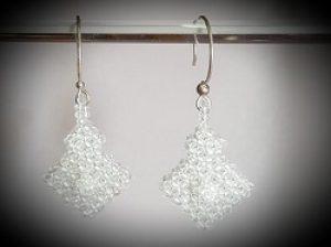 White Topaz Beaded Earrings