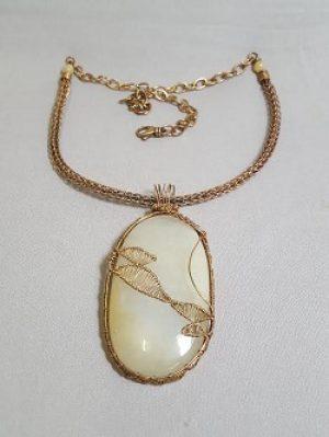 Yellow Quartz and Bronze Necklace