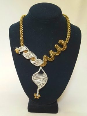 Asymmetrical Crochet and Wirework Necklace