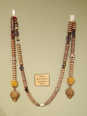 Ghana Brass Mask Necklace