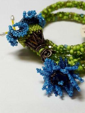 Flowers on Memory Wire Bracelet