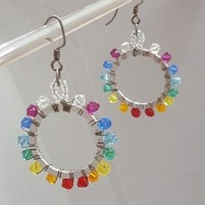 Rainbow Wire Wrapped Earrings