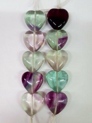 Fluorite Heart Beads