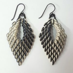 Black & White Leaf Earrings