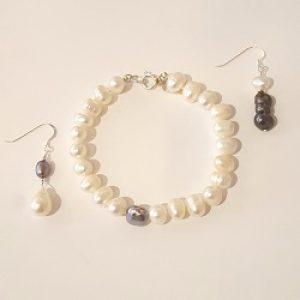 Asymmetrical Pearl Bracelet and Earrings Set