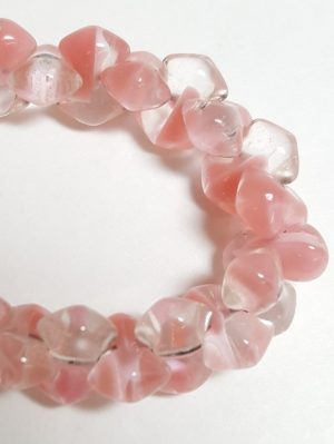 Vintage Glass Strand:  Pink and Clear Barbells