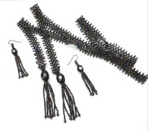1920's Weave Necklace & Earrings Set (made with hematite beads)