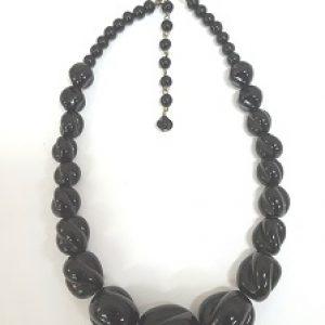 1940's Refurbished Black Graduated Carved Glass Necklace