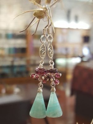Amazonite & Garnet Earrings