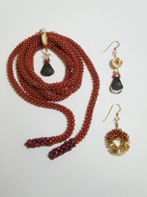 Bead Challenge 2020--Allison York--Lariat with 3 Earring Options