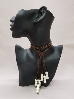 Pearl & Leather Lariat