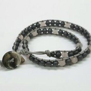 Wrapped Stone Bracelet--Rose Quartz & Hematite