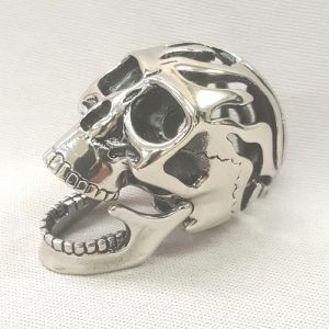 Stainless Steel Hinged Jaw Skull Pendant