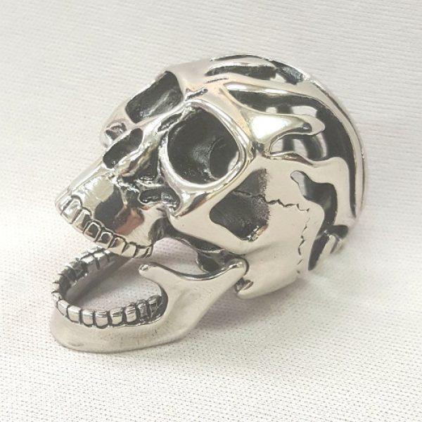 Stainless Steel Hinged Jaw Skull Pendant