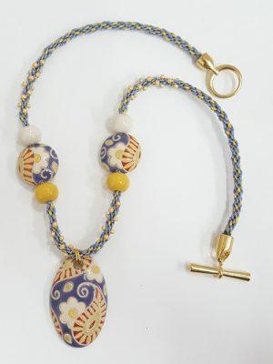 Ceramic Flower Kumihimo Necklace