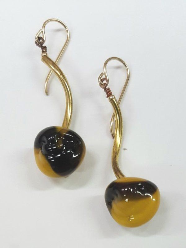 Mustard & Black Art Bead Earrings